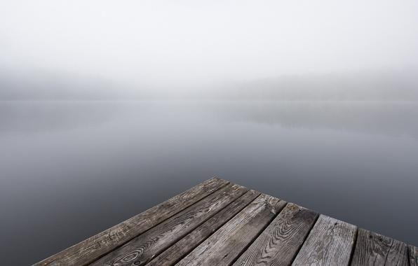 Картинка мост, туман, река