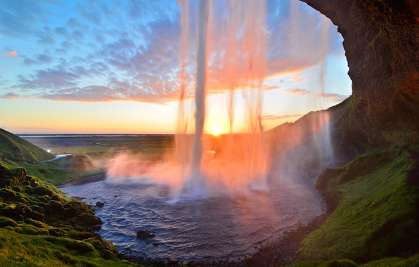 Картинка закат, водопад, поток, Исландия, Iceland, Seljalandsfoss, Селйяландсфосс