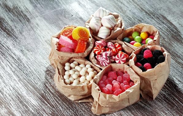 Картинка конфеты, сладости, леденцы, мармелад, ассорти, пакетики, маршмэллоу