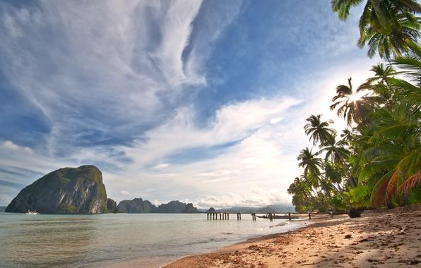 Картинка песок, море, небо, облака, пейзаж, природа, пальмы, океан, берег, остров, sky, sea, ocean, landscape, nature, …