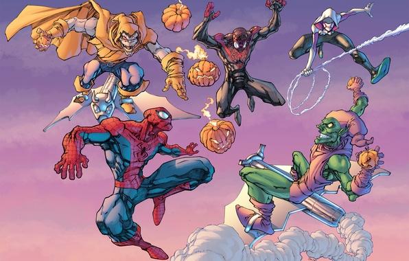 Картинка green goblin, Spider-Man, Doctor Octopus, Spider-Gwen, Superior Spider-Man, Otto Octavius, Roderick Kingsley, Norman Osborn, Hobgoblin