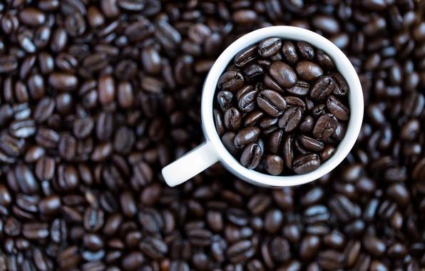 Картинка кофе, кружка, кофейные зёрна