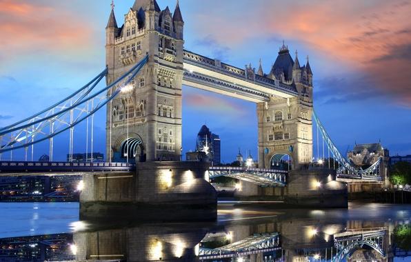 Картинка небо, вода, облака, закат, lights, огни, отражение, Англия, Лондон, вечер, Европа, Великобритания, Темза, Тауэрский мост, ...