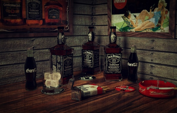 Картинка ice, whiskey, smoking, bar, cigarette, bottles, Coca-cola, Jack Daniels, Marlboro, lighter, cadre