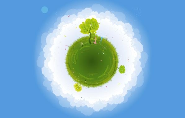 Картинка лето, небо, трава, облака, деревья, абстракция, земля, планета, вектор, птички, одуванчики, она