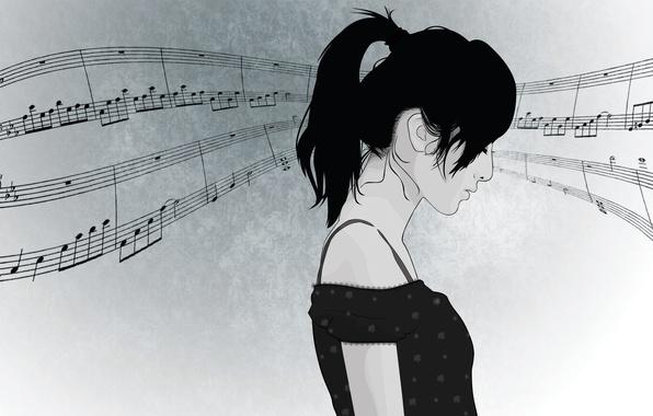 Картинка девушка, лицо, ноты, музыка, волосы, вектор, профиль, хвостик