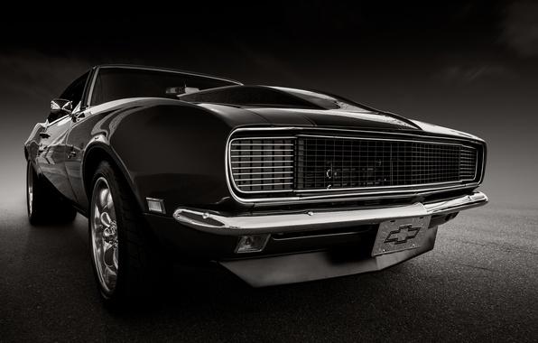 Картинка ретро, Chevrolet, Camaro, классика, передок, 1968