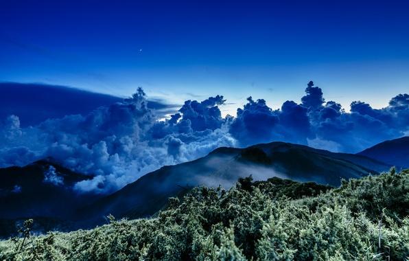 Картинка star, sea, sunset, night, cloud, mountain, wave, moonlight, Taiwan