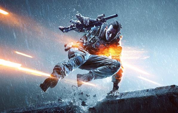Картинка огни, пистолет, оружие, дождь, прыжок, солдат, автомат, перчатки, экипировка, бронежилет, Electronic Arts, DICE, Battlefield 4, …