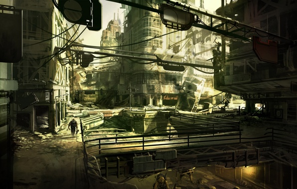 Картинка рисунок, Город, развалины