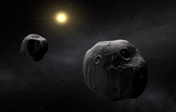 Картинка космос, пространство, тела, метеорит