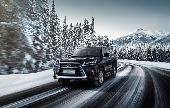 Картинка зима, дорога, скорость, Lexus, лексус, LX 570