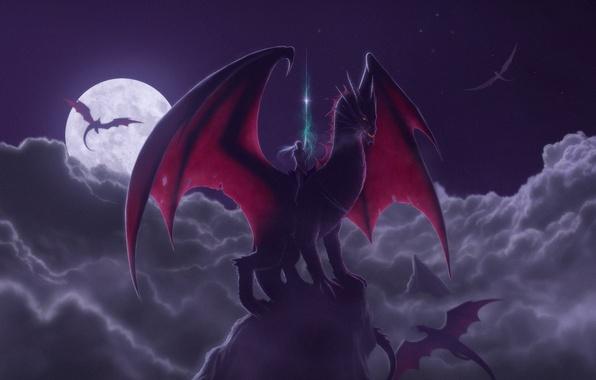 Фото обои луна, фентези, ночь, всадник, дракон