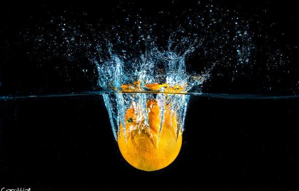 Картинка вода, брызги, лимон, апельсин, всплеск, цытрус