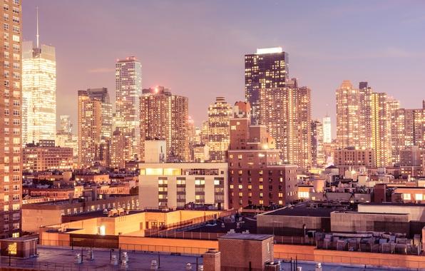 Картинка свет, город, огни, окна, здания, дома, Нью-Йорк, небоскребы, вечер, крыши, USA, США, Манхэттен, New York, …