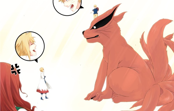 Картинка аниме, семья, арт, девятихвостый, Наруто, Naruto, Naruto Uzumaki, Uzumaki Kushina, Namikaze Minato, Kyuubi, eri momo