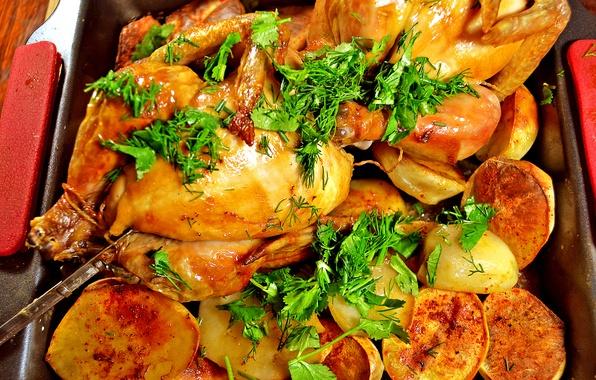 Картинка зелень, картофель, Курица, гриль