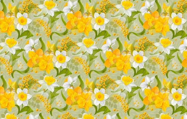 Картинка цветы, праздник, текстура, весна, 8 марта, нарциссы, мимоза