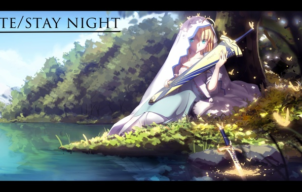 Картинка девушка, бабочки, оружие, берег, меч, аниме, арт, фата, saber, fate stay night, magicians, zhkahogigzkh