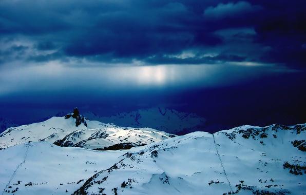 Картинка зима, снег, горы, обоя
