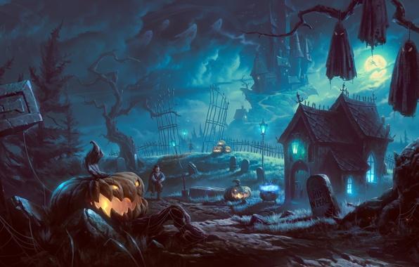 Картинка деревья, ночь, дом, замок, дерево, луна, могилы, арт, фонари, Halloween, тыква, вампир, летучие мыши, мрачно