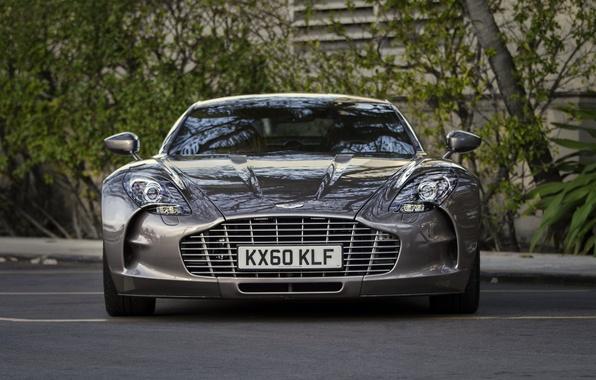 Картинка деревья, Aston Martin, перед, астон мартин, парковка, суперкар, supercar, front, tree, parking, One-77