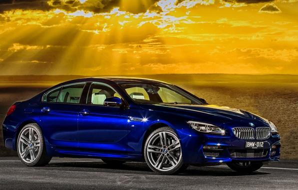 Картинка море, закат, бмв, купе, вечер, BMW, Gran Coupe, Sport, F06, AU-spec, 650i, 2015, 6-Series