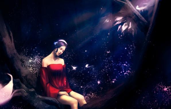 Картинка лес, девушка, бабочки, ночь, поза, сидит, art, urami