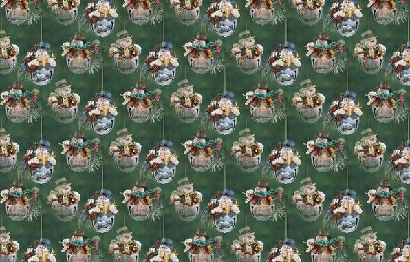 Картинка фон, праздник, текстура, Новый год, снеговик, колокольчики
