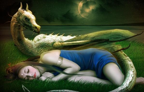 Картинка девушка, звезды, украшения, лицо, фантастика, луна, дракон, сон, платье, арт, спит, рога, траванебо