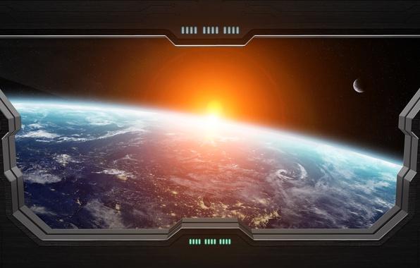 Картинка light, star, planet, Sci FI, window spaceship