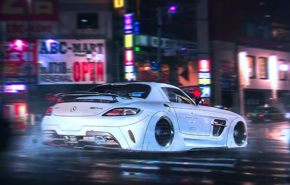 Картинка Mercedes-Benz, AMG, SLS, Night, White, Tuning, Future, Supercar, by Khyzyl Saleem