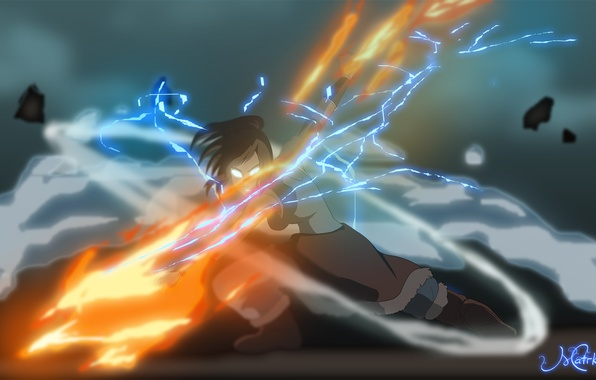 Картинка вода, огонь, земля, стихия, магия, молния, арт, воздух, Корра, Korra, The Legend of Korra, Аватар: …