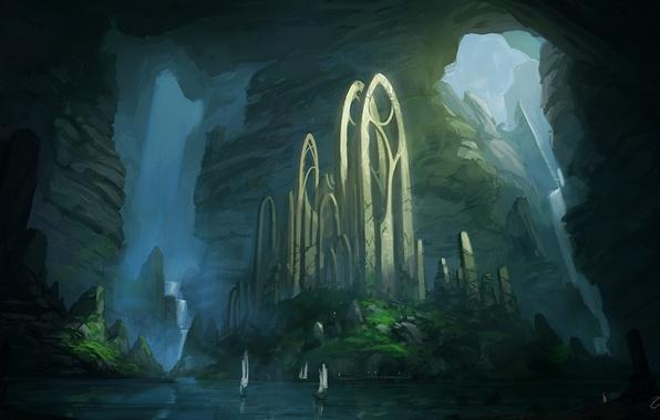 Картинка вода, девушка, пейзаж, скалы, корабли, арт, рыжая, руины, арки, Blinck