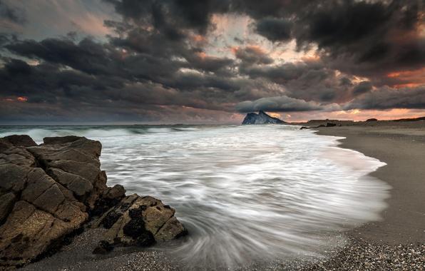 Картинка море, пляж, закат, тучи, шторм, берег, нео