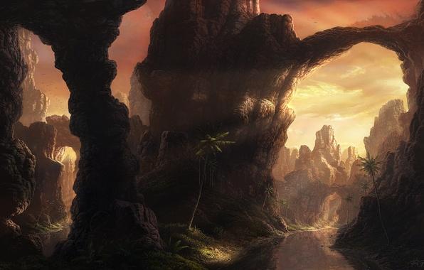 Картинка горы, река, пальмы, Fel-X