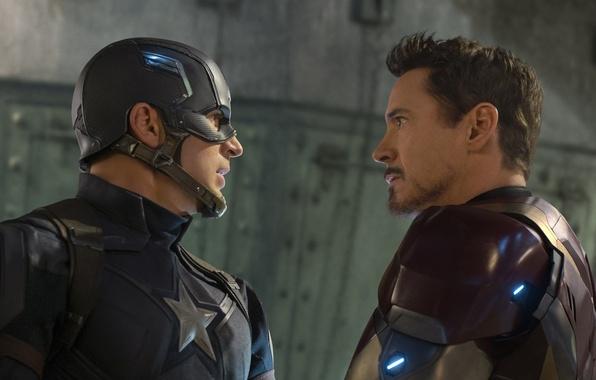 Картинка фантастика, Iron Man, комикс, Captain America, Крис Эванс, Robert Downey Jr., MARVEL, Роберт Дауни мл., …