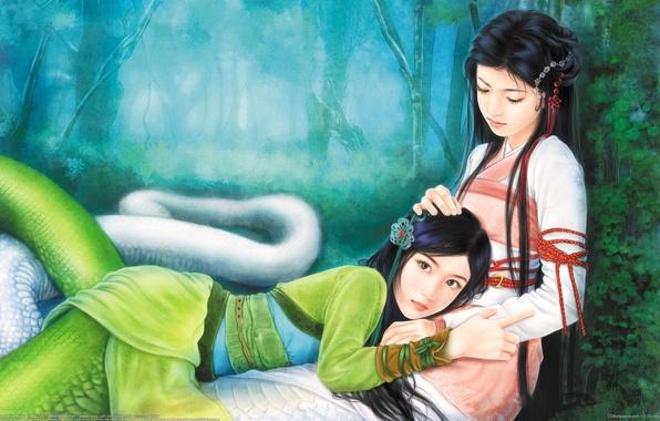 Картинка лес, змеи, девушки, арт, хвост, лежит, кимоно, wen chen yen