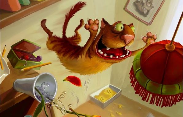 Картинка кот, рисунок, Елена Седова, люстра