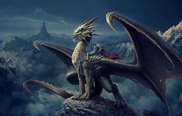 Картинка горы, замок, дракон, башня, арт, всадник, Nick Deligaris