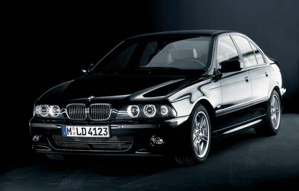 Картинка черный, BMW, автомобиль, седан, black, E39, 5 Series, High-Line Sport