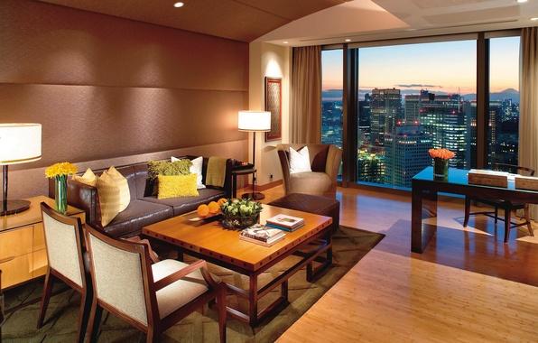 Картинка дизайн, город, стиль, стол, комната, диван, книги, интерьер, вечер, подушки, окно, кресла, Токио, коричневый
