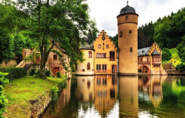 Картинка вода, деревья, пейзаж, озеро, замок, ландшафт, башня, Германия, landscape, Germany, castle, замок Меспельбрунн