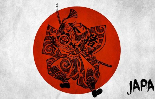 Картинка минимализм, Япония, самурай