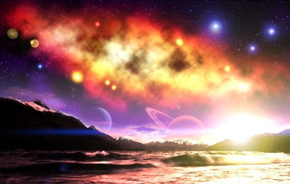Картинка небо, космос, звезды, горы, фантастика, планеты, space, sky, mountain, stars, planets