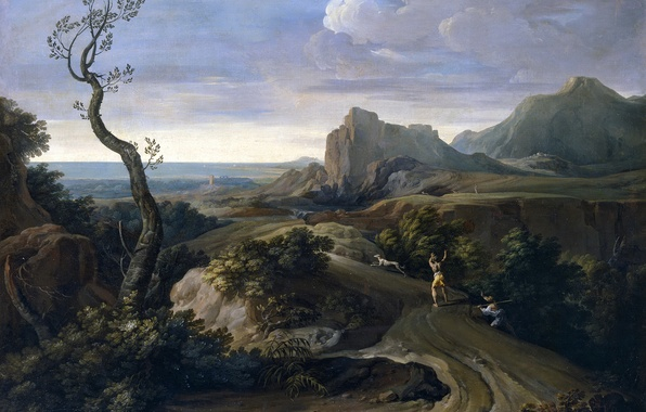 Картинка дерево, скалы, собака, картина, охотник, Коррадо Джаквинто, Пейзаж с Охотниками
