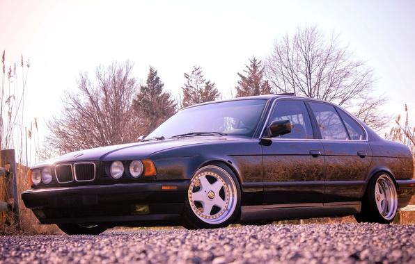 Картинка бмв, BMW, черная, black, tuning, E34, 525, 5 серия