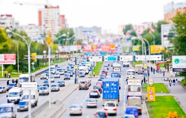 Картинка дорога, машины, природа, город, люди, улица, tilt-shift