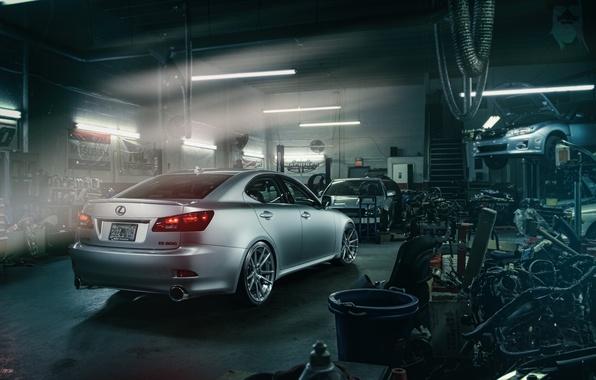Картинка Lexus, Subaru, Impreza, мастерская, узлы, запчасти, silvery, подъёмник, IS 250