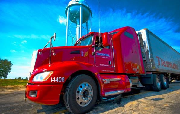 Картинка красный, грузовик, Kenworth